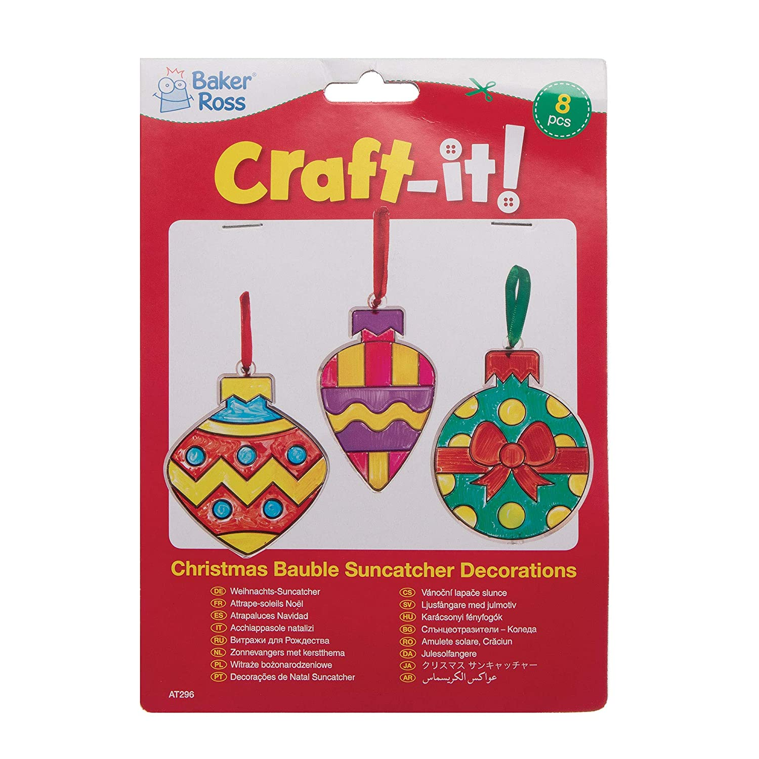 Pack of 8 Festive Arts and Craft Assorted Baker Ross AT296 Christmas Bauble Suncatcher Decorations