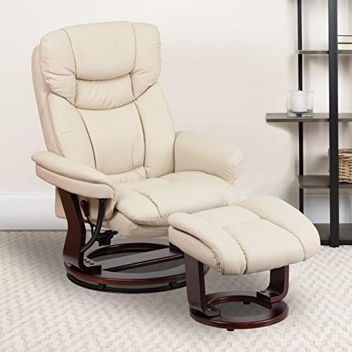 EMMA OLIVER Beige LeatherSoft Swivel Recliner Chair