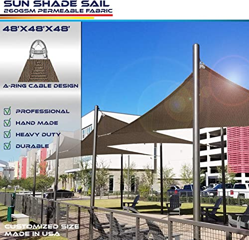 Windscreen4less A-Ring Reinforcement Large Sun Shade Sail 48 x 48 x 48 Equilateral Triangle Super Heavy Duty Strengthen Durable 260GSM -Galvanized Cable Enhanced – Brown 7 Year Warranty