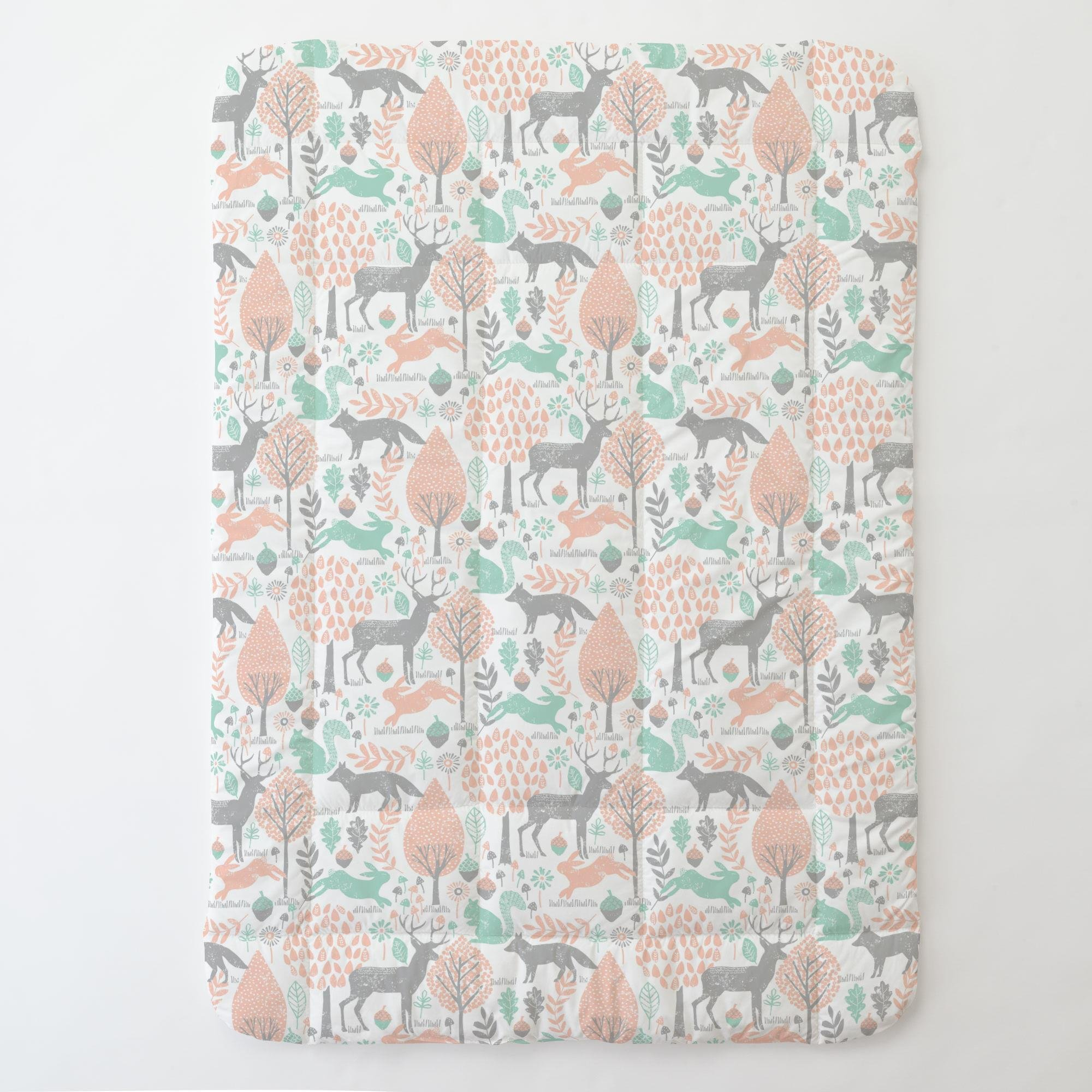 Carousel Designs Gray and Peach Woodland Animals Toddler Bed Comforter