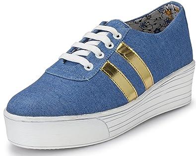 e934817603d28 Walktoe Denim High Heel Casual Gold Sneaker Shoes for Women/Girls (5 UK/