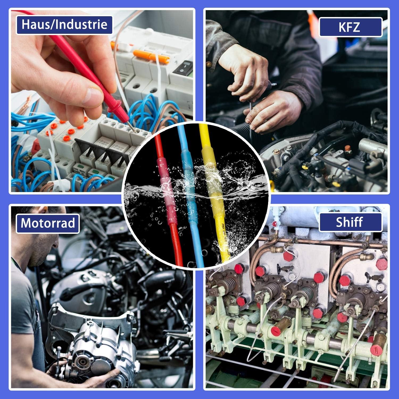 22-10 AWG Wasserdicht Schrumpfverbinder Rot//Blau//Gelb electrapick Kabelverbinder Set 200st Sto/ßverbinder /& 30st Kabelbinder /& eine Schere