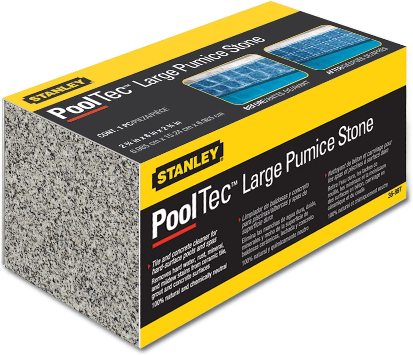 Stanley 36897 Large Swimming Pool and Spa Pumice Stone, Large
