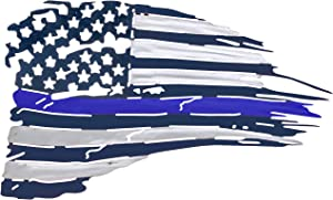 Metal American Flag Wall Decor - Blue Line US Flag Metal Art Military Office Decor - America Decorations for Home Patriotic Metal Signs - Outdoor American Flag Steel Wall Decorations