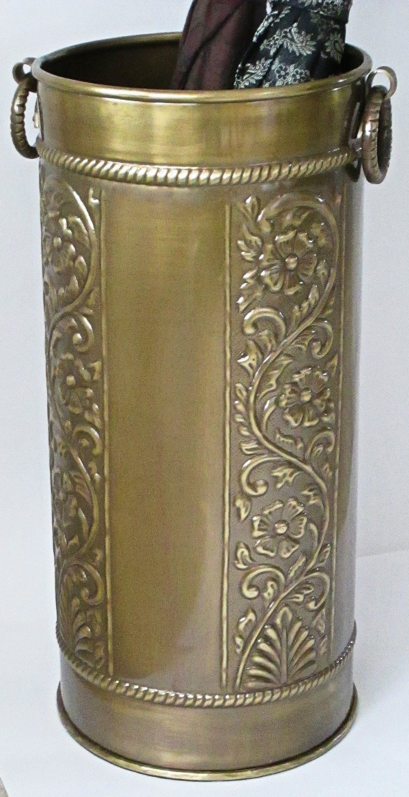 Solid Brass Umbrella Stand Scrollwork Design by Excellent Accents