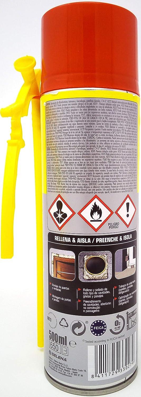 OMHSEN Espuma expansiva de Poliuretano 500 ml- aplicación Manual con Boquilla - Bomba Reutilizable Gracias a Nuevo aplicador: Amazon.es: Hogar