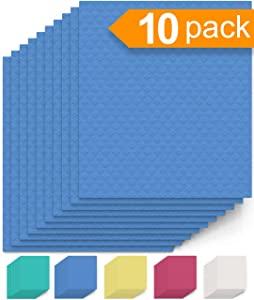 Swedish Dishcloth Cellulose Sponge Cloths – Bulk 10 Pack of Eco-Friendly No Odor Reusable Cleaning Cloths for Kitchen – Absorbent Dish Cloth Hand Towel (10 Dishcloths – Blue)