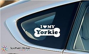 I Love My Yorkie Dog Bone Puppy Symbol White Vinyl Car Sticker Symbol Silhouette Keypad Track Pad Decal Laptop Skin Ipad Macbook Window Truck Motorcycle