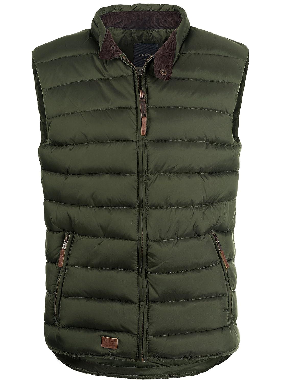 BLEND 703589ME Men's Quilted Gilet Vest Waistcoat Banded Collar