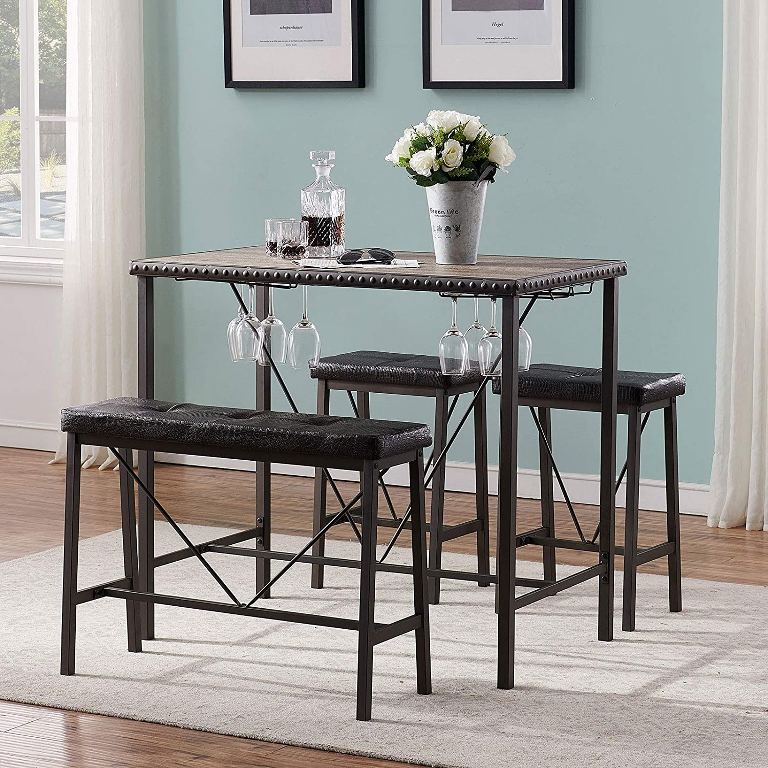 O&K FURNITURE 4-Piece Industrial Dining Table Set with Glass Holder, Kitchen Table with Upholstered Bench and Stools, Counter Height Pub Table Set for Small Space(Gray)