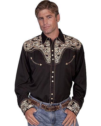 da2301c0cfb Scully Men s Gunfighter Shirt - Gold  Amazon.co.uk  Clothing