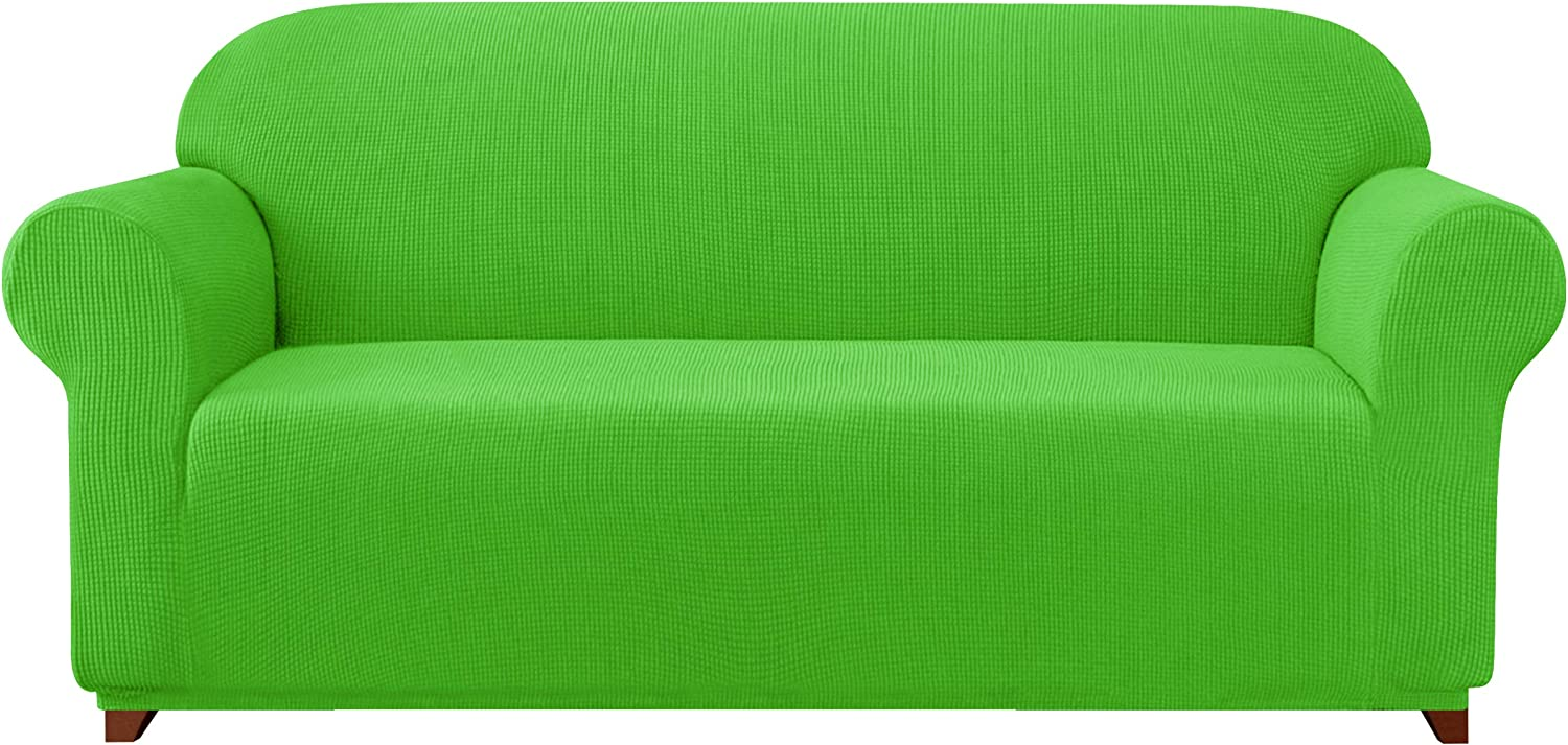 subrtex Sofa Cover 1-Piece Stretch Couch Slipcover Soft Couch Cover Washable Furniture Protector for Pets, Jacquard Fabric Small Checks(Grass Green,Large)