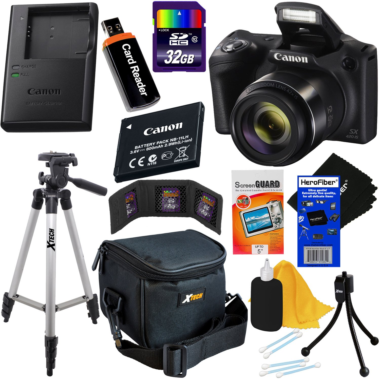 Canon Powershot SX420 is 20 MP Wi-Fi Digital Camera with 42x Zoom (Black) Includes: Canon NB-11LH Battery & Canon Charger + 9pc 32GB Deluxe Accessory ...