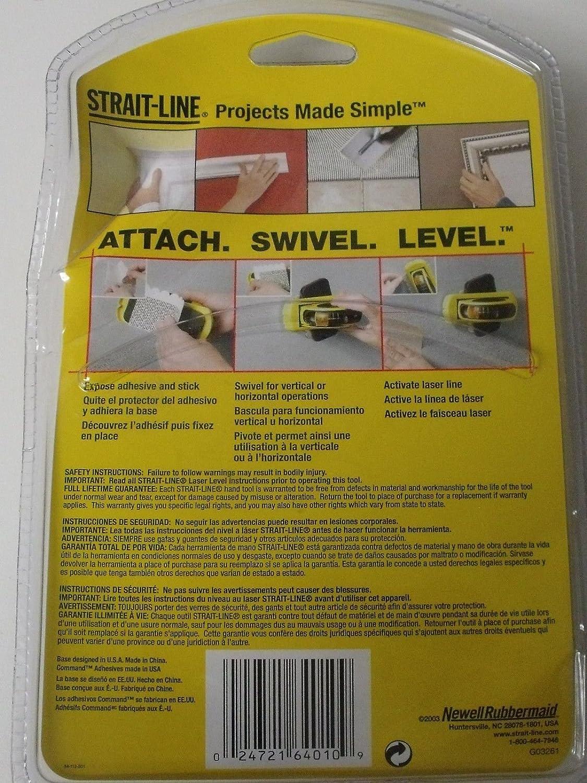 Strait Line Laser Level Swivel Base W/12 3m Command Adhesive Strips - - Amazon.com