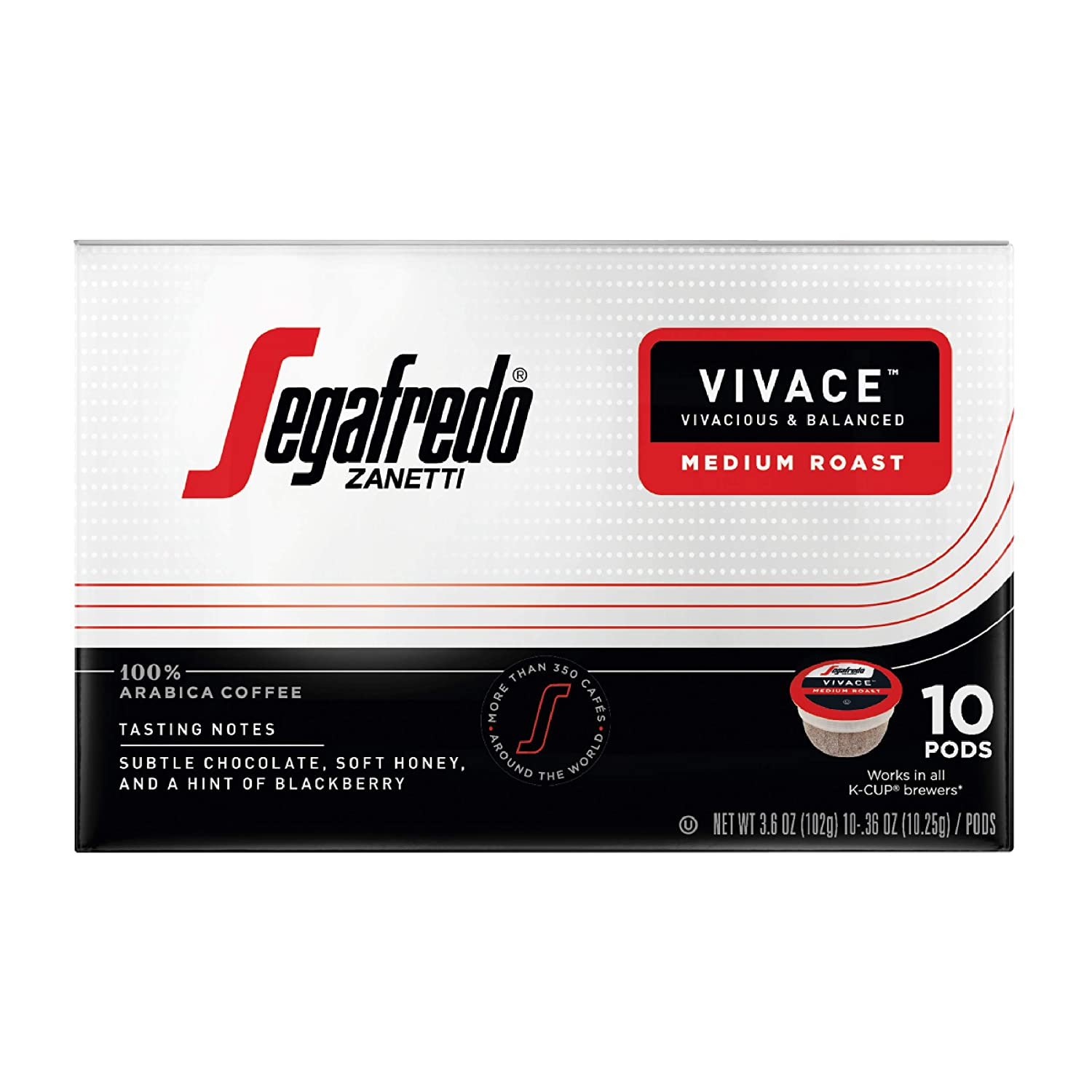 Segafredo Zanetti Single Serve Coffee Pods Vivace Medium Roast 10 Count Pack Of 6 Easy To Brew 100 Arabica Coffee Pods World Class Coffee Experience Works With All K Cup Brewers