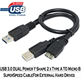 SaiTech IT 1 feet USB 3.0 Dual Power Y Shape 2 X Type a to Micro B high speed upto 5 Gbps data transfer cable for External Hard Drives