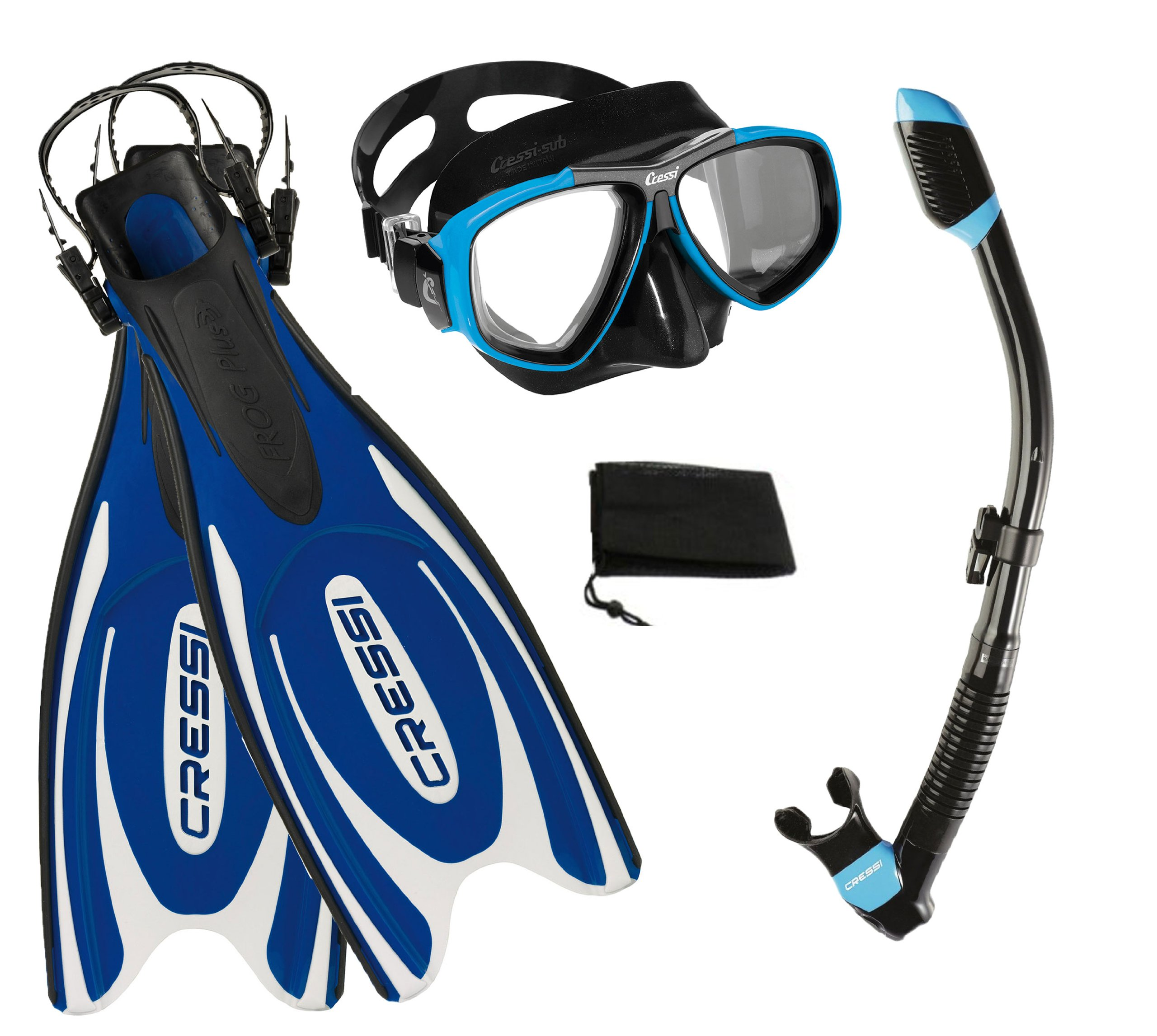 Cressi Frog Plus Fin Focus Silicone Mask Dry Snorkel Set, Blue, Small/Medium/Men's 7-9/Women's 8-10