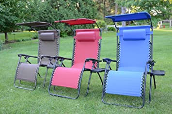 Deluxe Oversized Extra Large Zero Gravity Chair with Canopy + Tray - Brown : canopy lawn chairs - memphite.com