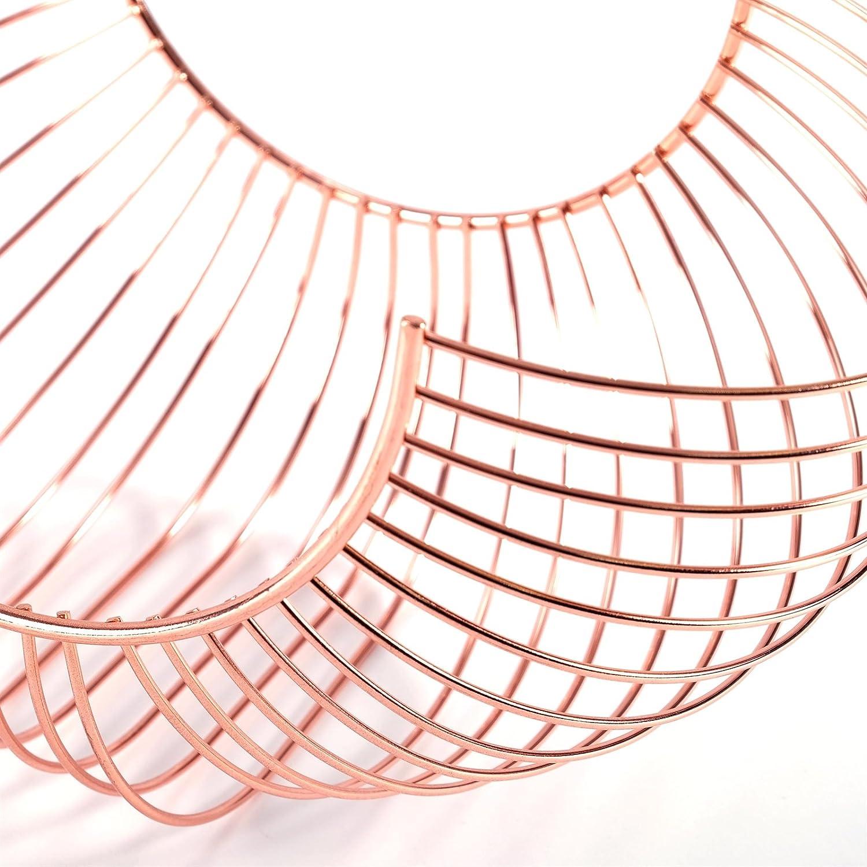 Curved Design Fruit Basket Alessia Metal Coppery 13 Fruit Bowl