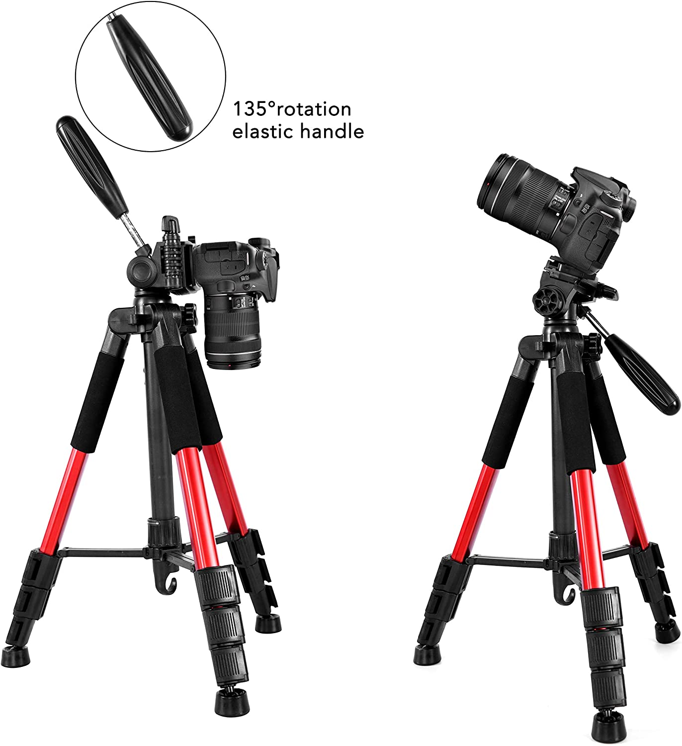 Portable Lightweight Camera SLR Ball Aluminum Tripods with 1//4 Plate,Bubble Level,Universal Phone Mount,Handle and Carry Bag for Canon Nikon Sony. Blue Travel Camera Tripod