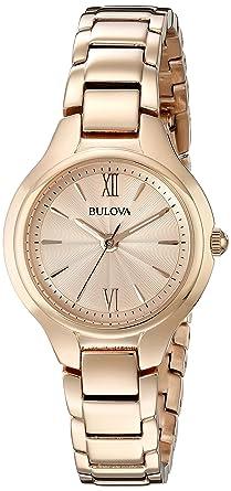 3e8cb2ffe Amazon.com: Bulova Women's 97L151 Analog Display Quartz Rose Gold ...