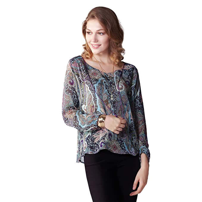 a255910b14f Image Unavailable. Image not available for. Color  OneWorld Long Sleeve  Scoop Neckline Ethnic Flora Print Chiffon Blouse for Ladies and Women