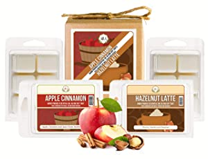Aira Soy Wax Melt Variety Pack - Organic, Vegan, Kosher, Scented Soy Wax Cubes w/Essential Oils - No Chemical 100% Soy Wax Melts for Melters - Hand Poured - Apple Cinnamon & Hazelnut Latte - 4 Pack