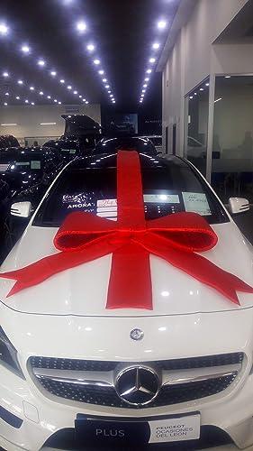 Lazo gigante para coche (84 cm) más 2.5 metros de listón. Para regalos de cumpleaños y Navidad. Color rojo brillante.: Amazon.es: Handmade