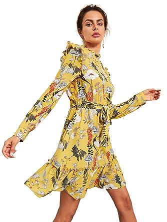 188b8d8c52b Floerns Women's Long Sleeve Ruffle Trim Self Tie Floral Print Short Dress  Yellow XS
