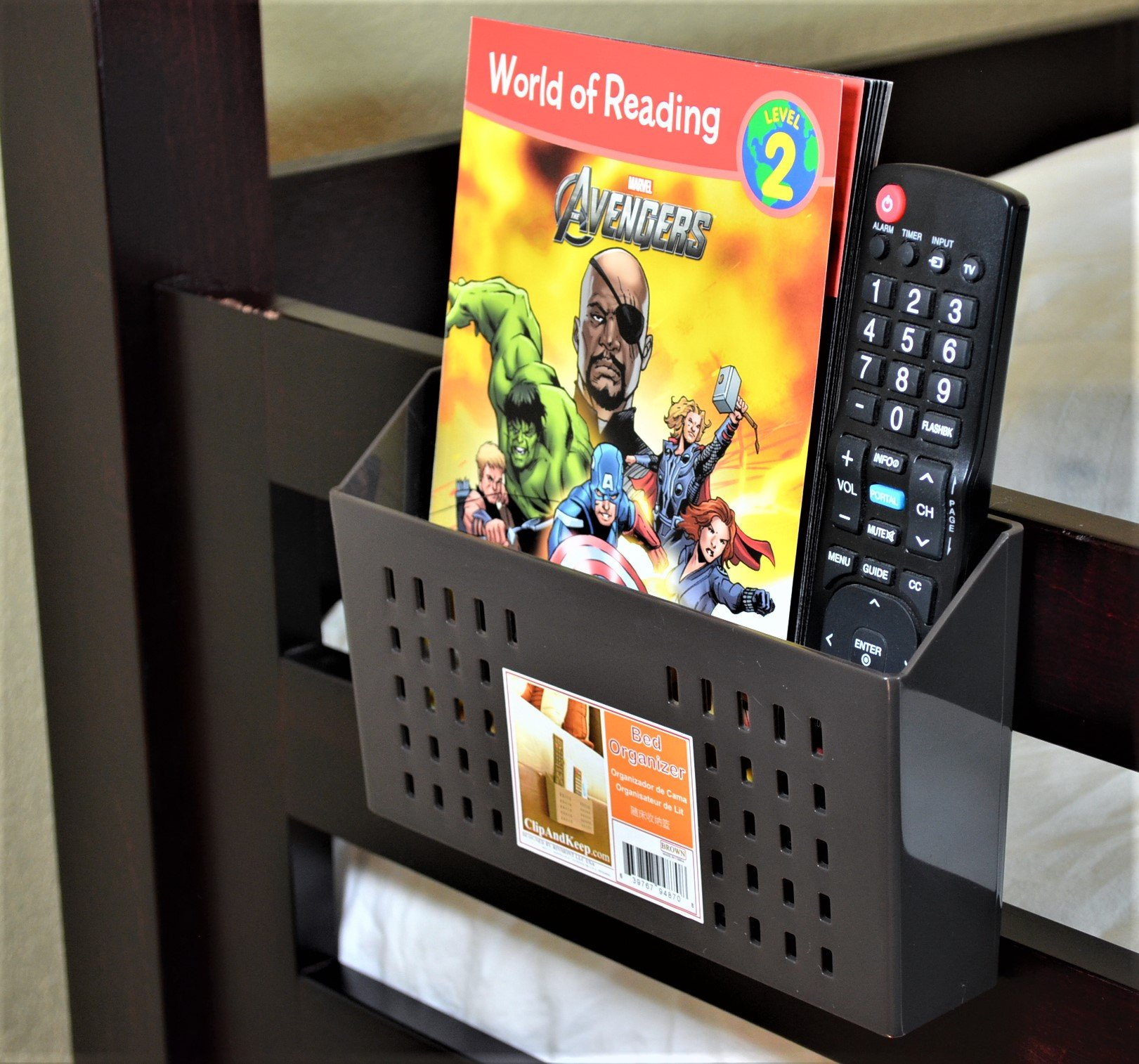 Bedside Storage, Bedside Caddy for Remote Controls, Bunk Bed Organizer (Brown)