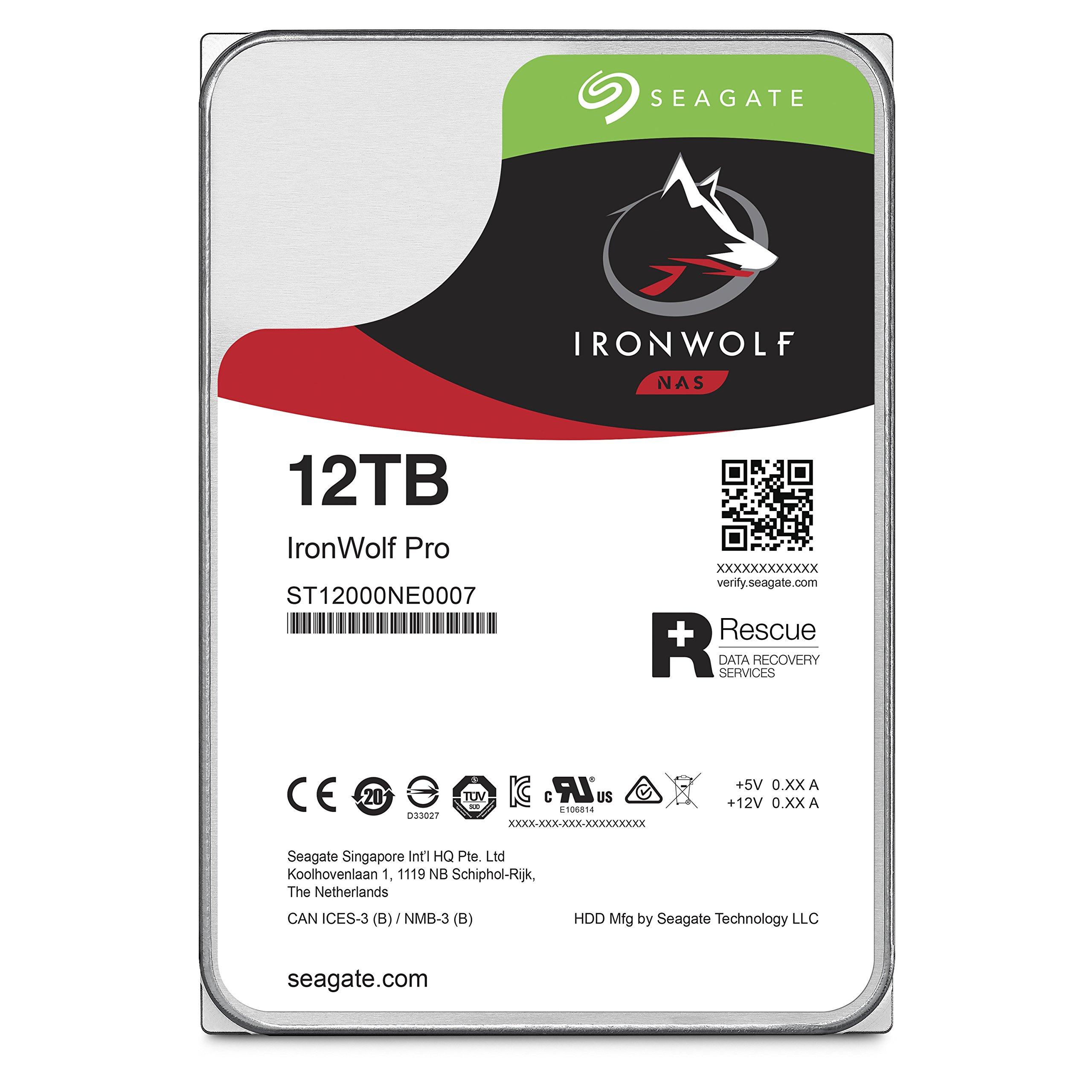 Seagate 12TB IronWolf Pro 7200RPM SATA 6Gb/s 256MB Cache 3.5-Inch NAS Hard Disk Drive 3.5-Inch Internal Bare/OEM Drive ST12000NE0007