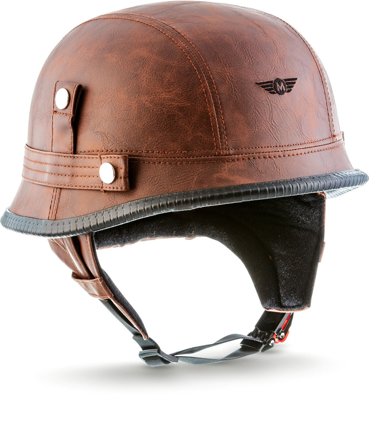MOTO · D33'Leather Brown' (Brown) · Jet-Helm Braincap Bobber Halbschalen · Roller Mofa Retro Scooter-Helm Motorrad-Helm Chopper · Click-n-SecureTM Clip · Tragetasche · M (57-58cm) MOTO Helmets D33_LEATHER-BROWN_M