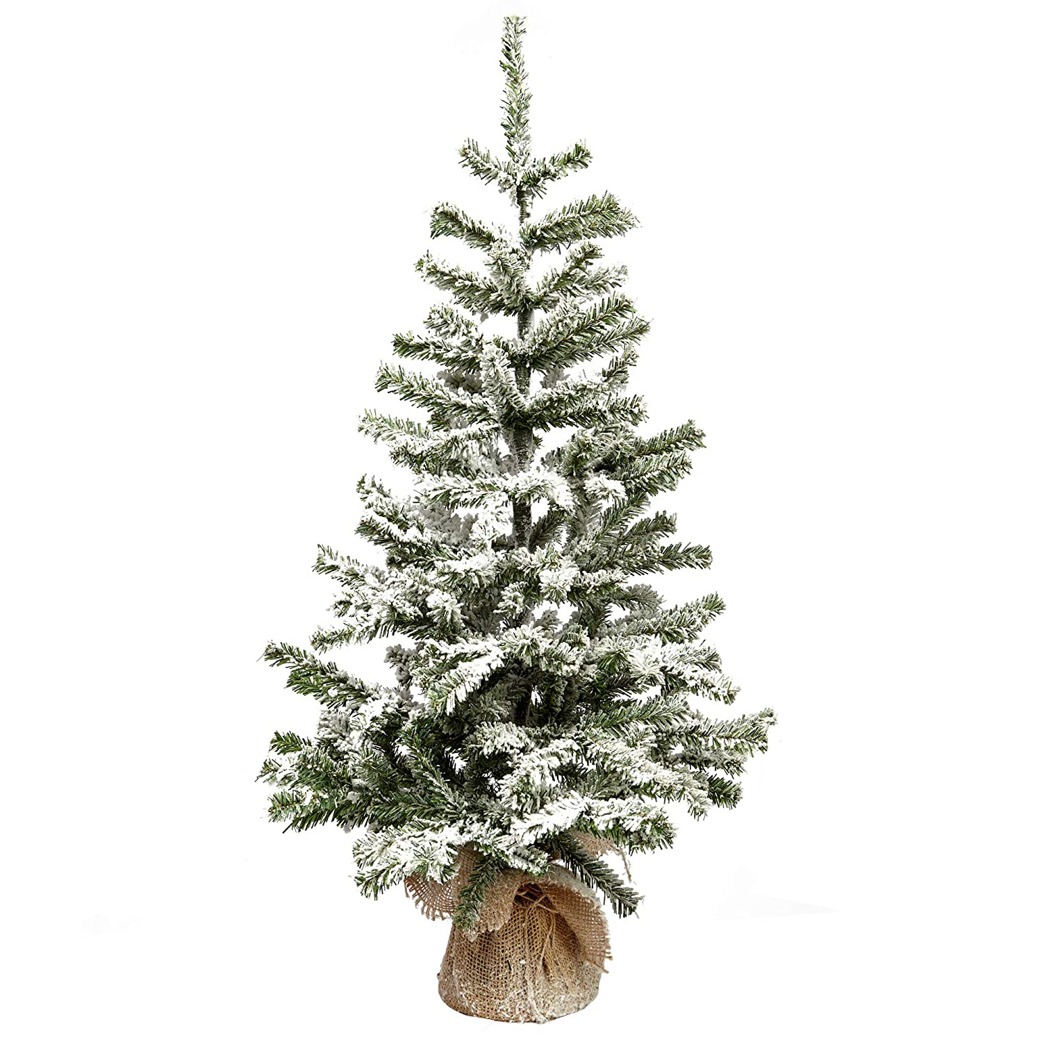 VGIA 26 Inch Small Artificial Christmas Tree Snow Tree with Wood Stand Flocked Snow VGA
