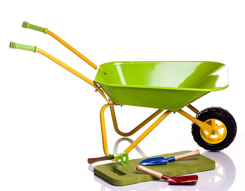 Kinderschubkarre Metall - Kids Metal Wheelbarrow Green + Tools & Knee Pad