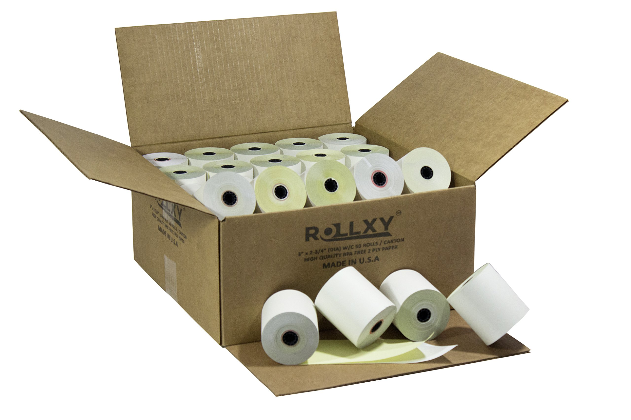 50 Rolls 3'' x 95' 2-Ply Carbonless White/Canary Cash Register Paper for Epson M119 Hypercom T77F (Impact Printer) NCR 7445-1000 Samsung SRP-100