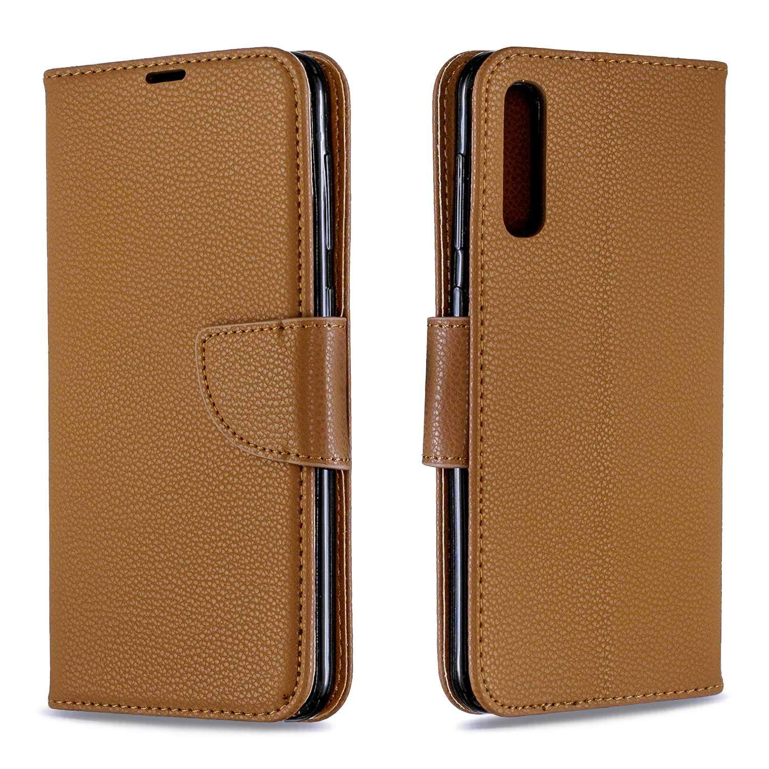 Galaxy A50 Case, Bear Village Premium PU Wallet Protective Case with Kickstand Function, Wrist Strap and Card Slots for Samsung Galaxy A50, Brown by Bear Village
