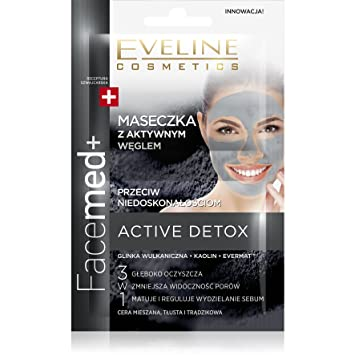 Mascarilla purificadora con carbón activo para las imperfecciones Eveline Active Detox 2x5ml: Amazon.es: Belleza
