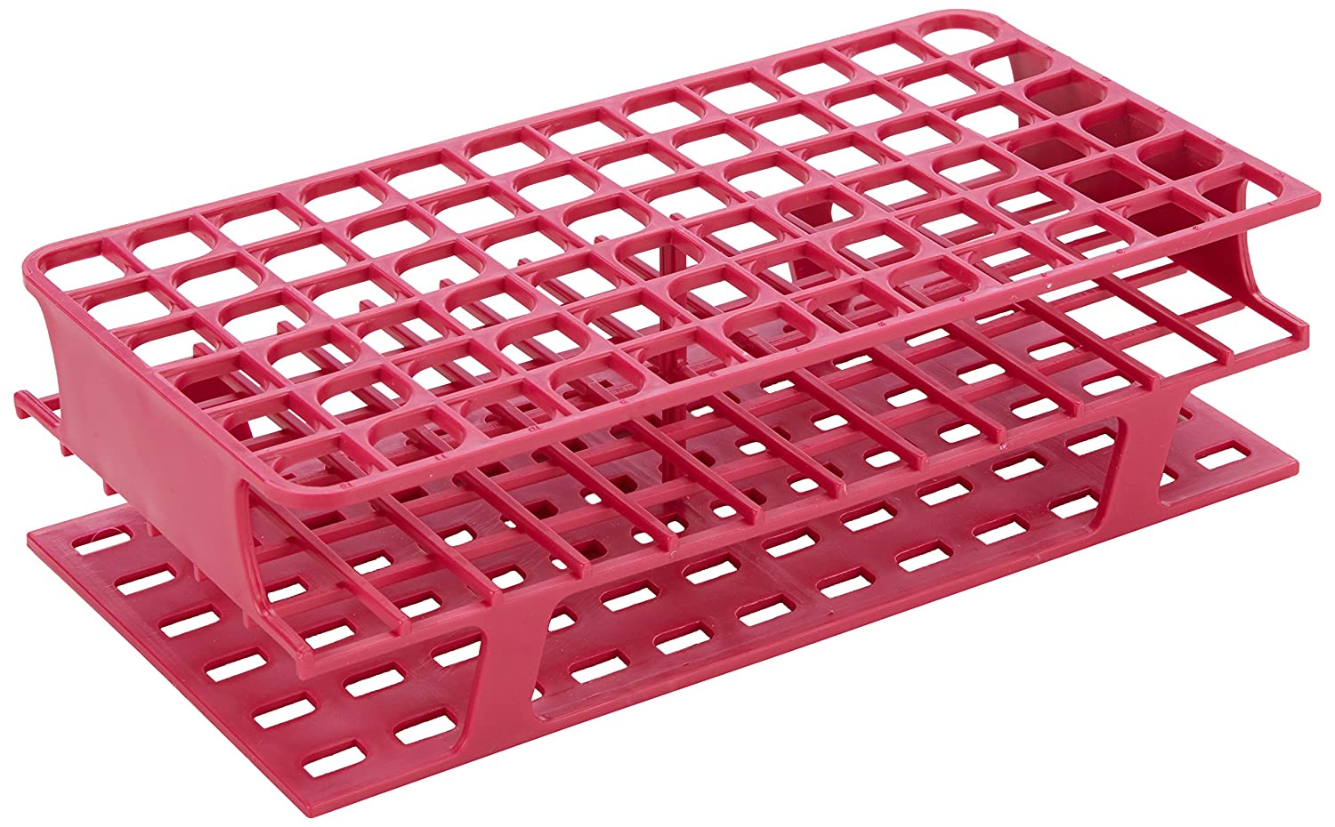 Heathrow Scientific HD27552D Polypropylene Test Tube Rack, Onerack Full Size, 127 mm Length x 250 mm Width x 70 mm Height, 16 mm, Red HS27552D