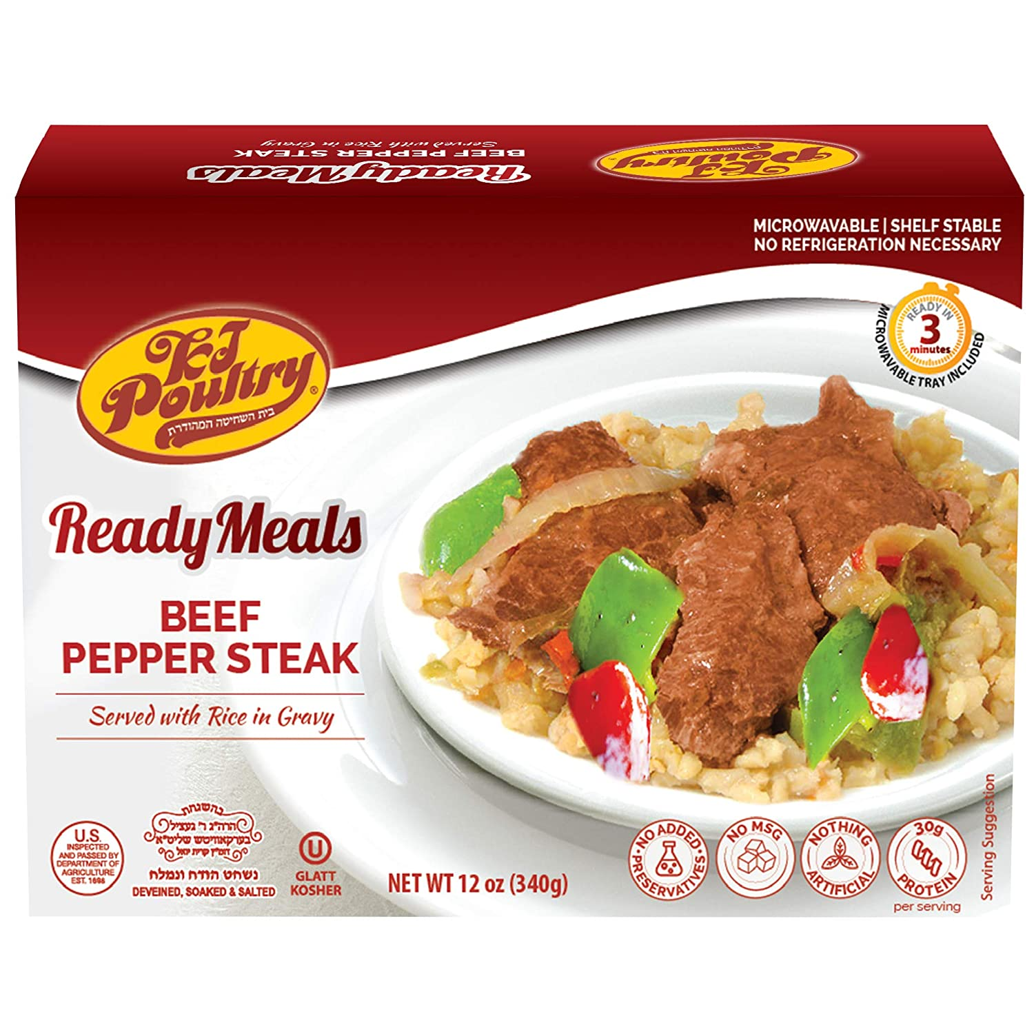 Kosher Mre Meat Meals Ready to Eat, Beef Pepper Steak (1 Pack) - Prepared Entree Fully Cooked, Shelf Stable Microwave Dinner, Deliverd Home – Travel, Military, Camping, Emergency Survival Canned Food