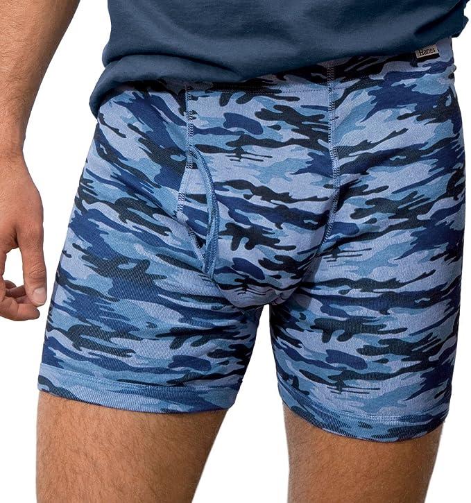 Hanes Blue Camo Print Set of 3 Cotton Boxers for Boys Boxer Shorts Underwear