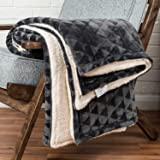 Dark Grey Large Velvet Throw Geometric Triangle Soft Touch Plush Blanket Sherpa Throw for Bed or Sofa - 200 x 230cm