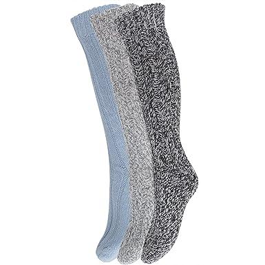 Womens Ladies Thick Wool Blend Long Hiking Walking Boot Socks (Pack of 3 e22a741b3c
