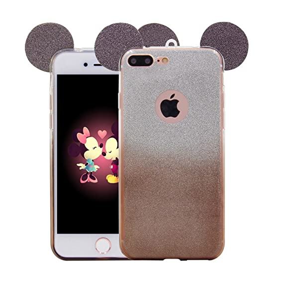 quality design 95580 2603b iPhone 8 Plus Case, iPhone 7 Plus Case, MC Fashion Cute Glitter Mickey  Mouse Ears Soft and Flexible TPU Case Skin for Apple iPhone 7 Plus/ iPhone  8 ...