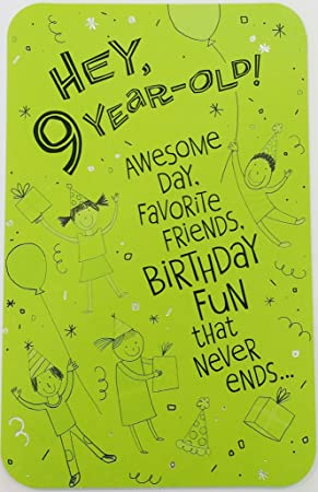 Happy 9th Birthday Greeting Card QuotEnjoy The Fun And Have A Blastquot