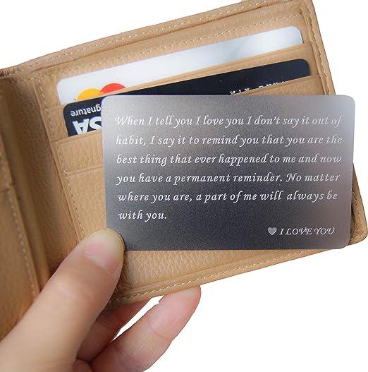 one anniversary gifts for boyfriend birthday gift wallet insert for men mens anniversary gift Engraved wallet insert card gifts for men