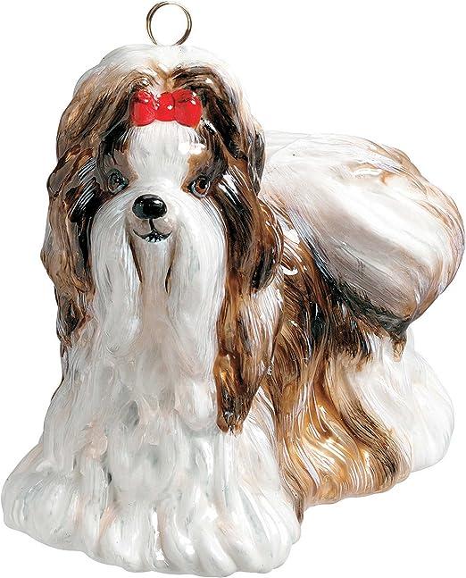 Shihtzu Brown and white Dog Ornament Figurine Gift Boxed
