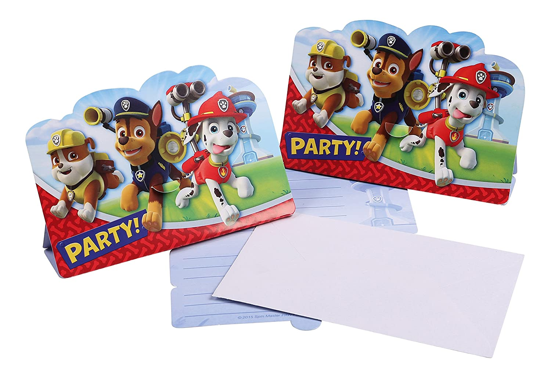 Juego de tarjetas de invitación de 16piezas de La Patrulla Canina para fiesta de cumpleaños o fiesta temática. Con 8invitaciones y 8sobres. Procos PCS-82702