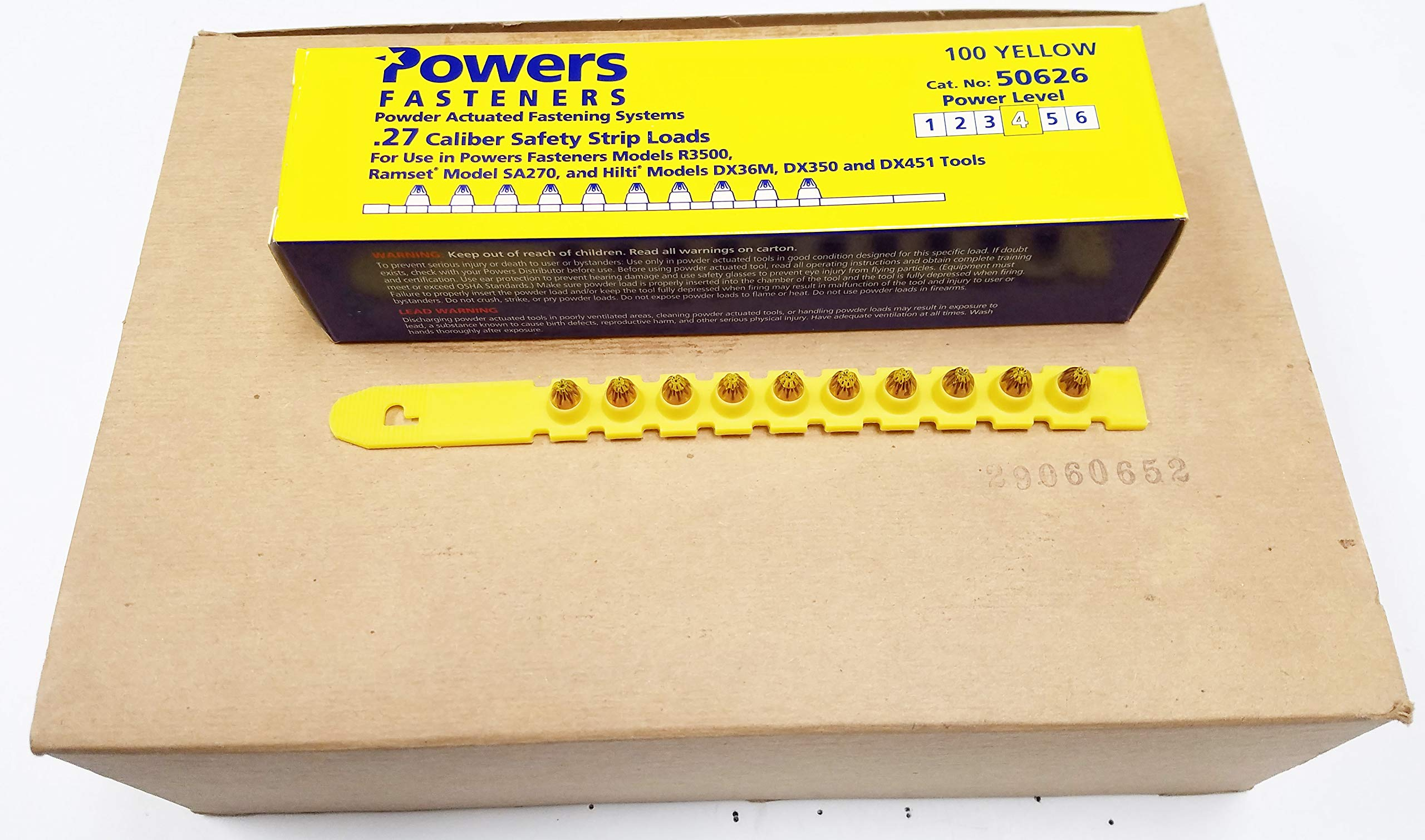 Powers Fasteners No.50626-1000 (Power Level 4) .27 Caliber Strip Loads-Yellow, 1,000 Loads, Made in USA