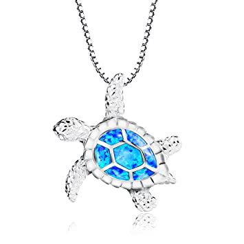 Amazon turtle necklace morenitor silver plated blue opal sea turtle necklace morenitor silver plated blue opal sea turtle pendant necklace jewelry gifts for women aloadofball Gallery
