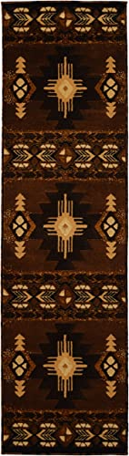 Western Essence Rugs 4 Less Collection Southwest Native American Indian Runner Area Rug Design Chocolate Brown 318 2 x7